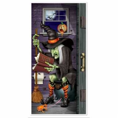 Halloween thema deurposter heks op toilet