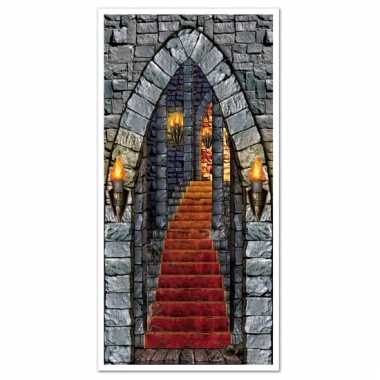 Halloween thema deurposter met kasteeltrap