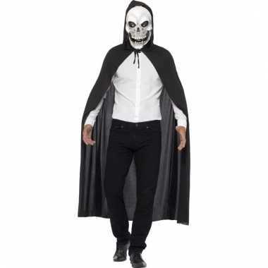 Halloween verkleedkleding skelet cape met masker