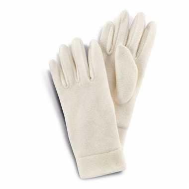 Handschoenen van fleece creme