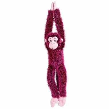 Hangende roze aap knuffels 84 cm