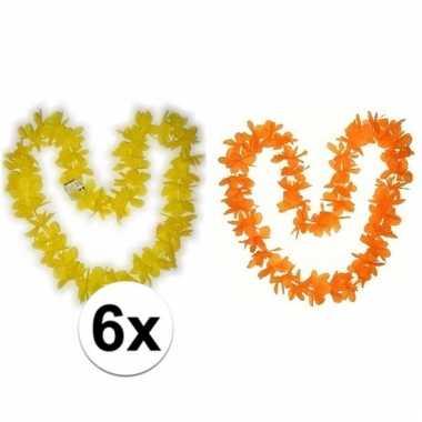 Hawaii thema bloemenslingers oranje/geel 6 pers