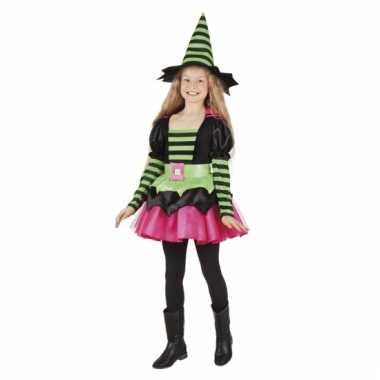 Heksen kostuum gestreept groen/roze voor meisjes