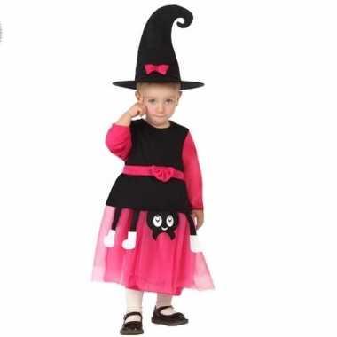 Heksen kostuum roze/zwart voor peuters