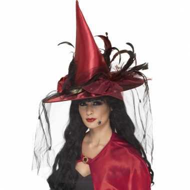Heksen punt hoed in de kleur rood