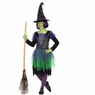 Heksen verkleedkleding groen/zwart voor kids