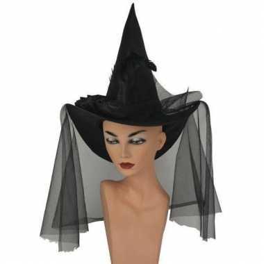 Heksenhoed zwart met sluier