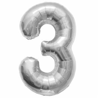 Helium cijfer ballon in zilver 3