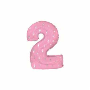 Helium cijfer ballon roze 2