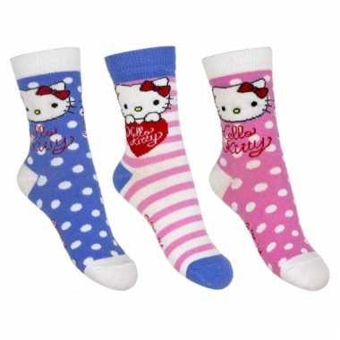 Hello kitty sokken 3-pak blauw/roze