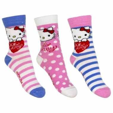Hello kitty sokken 3-pak roze/wit