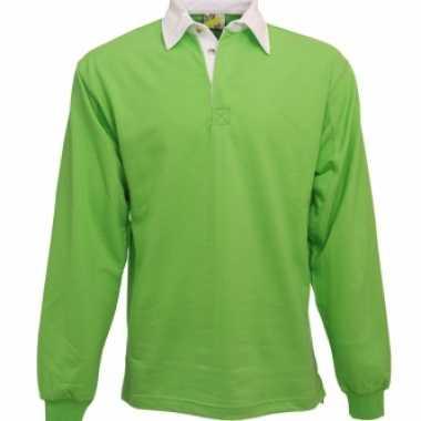 Heren lime rugbyshirt met witte kraag