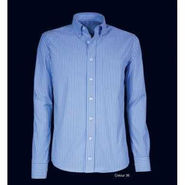 Heren overhemd blauw gestreept met lange mouwen