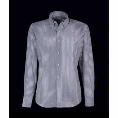 Heren overhemd grijs met witte strepen