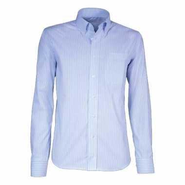 Heren overhemd licht blauw gestreept met korte mouwen