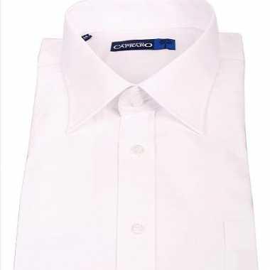 Heren overhemd wit met korte mouwen