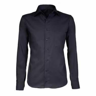 Heren overhemd zwart met extra lange mouwen