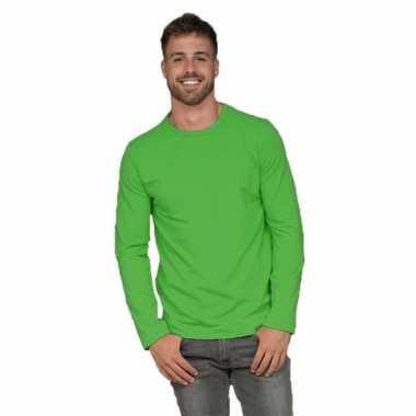 Heren shirt lime long sleeve stretch