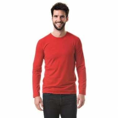 Heren shirt rood long sleeve stretch