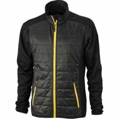 Heren stretch fleece jas zwart met geel
