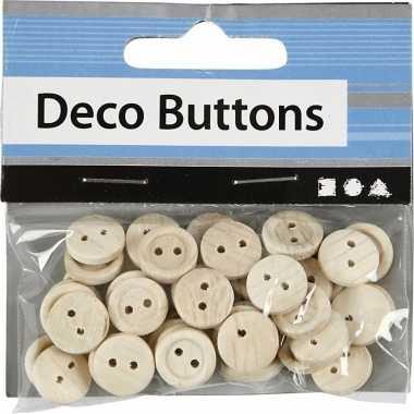 Hobby blank houten knopen 50 stuks