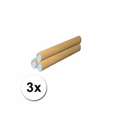 Hobbymateriaal 3 kartonnen kokers 50x5 cm