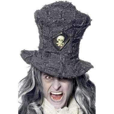 Hoge grijze hoed met schedel