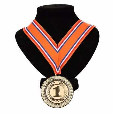 Holland medaille nr. 1 halslint oranje/rood/wit/blauw
