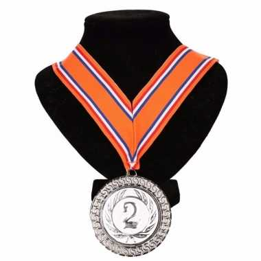 Holland medaille nr. 2 halslint oranje/rood/wit/blauw