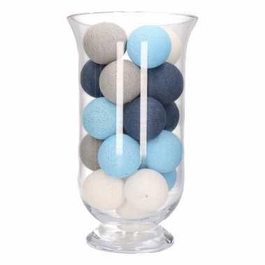 Homedeco vaas met blauw/grijs/witte lichtjes