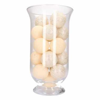 Homedeco vaas met witte/zilveren lichtjes
