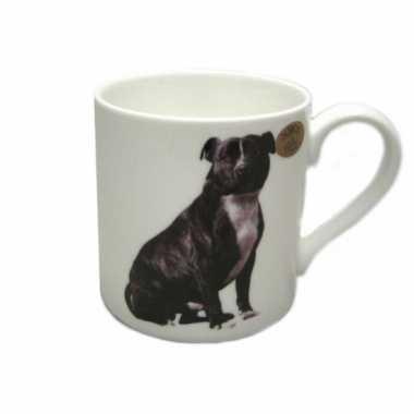 Honden mok zwarte stafford