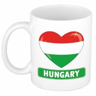 Hongaarse vlag hart mok / beker 300 ml