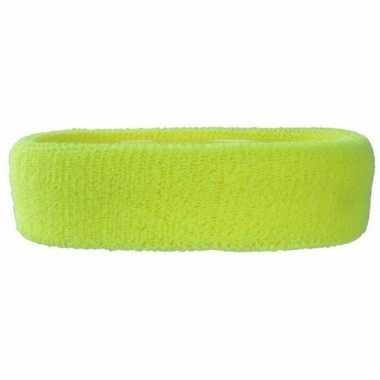 Hoofd zweetbandje neon geel voor volwassenen