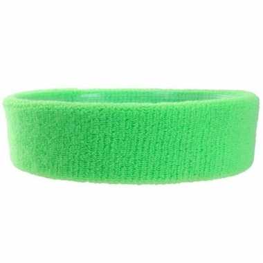 Hoofd zweetbandje neon groen voor volwassenen