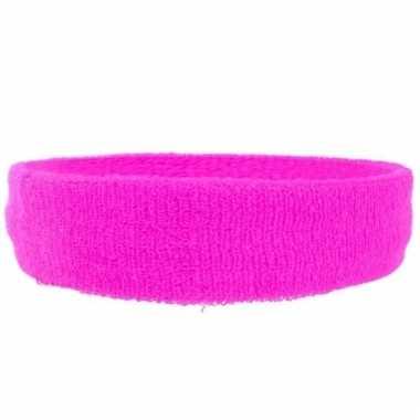 Hoofd zweetbandje neon roze voor volwassenen
