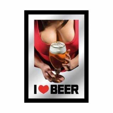 Horeca wandspiegel i love beer