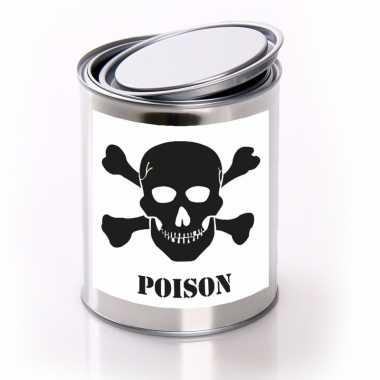 Horror decoratie blik met poison/ gif etiket