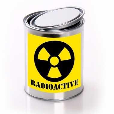 Horror decoratie blik met radioactive/ radioactief etiket