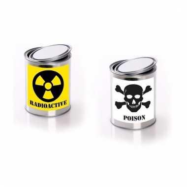 Horror decoratie blikken met radioactive/ poison etiket
