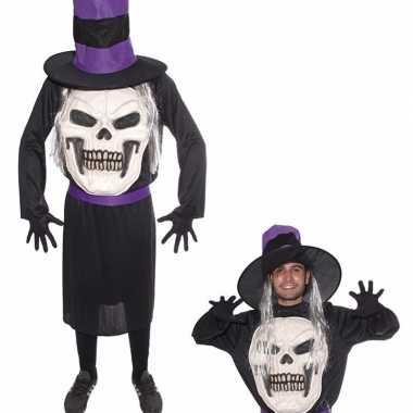 Horror verkleedkleding doodskop met hoed pak