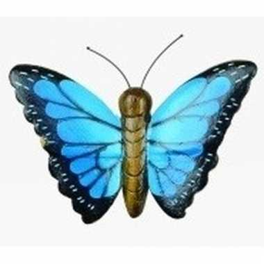 Hout magneet blauwe vlinder