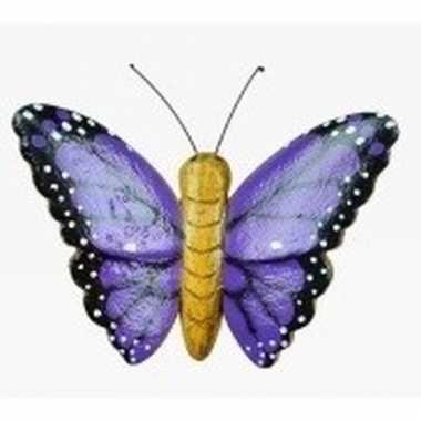 Hout magneet paarse vlinder
