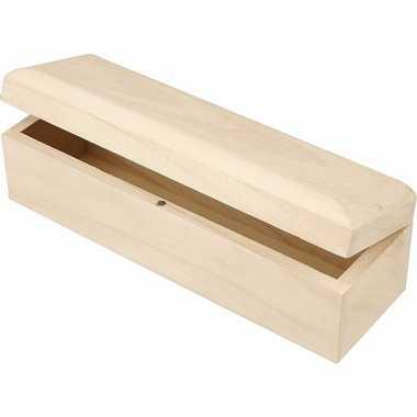 Houten blanco potloden kistje 20 cm