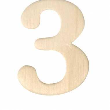 Houten cijfer 3
