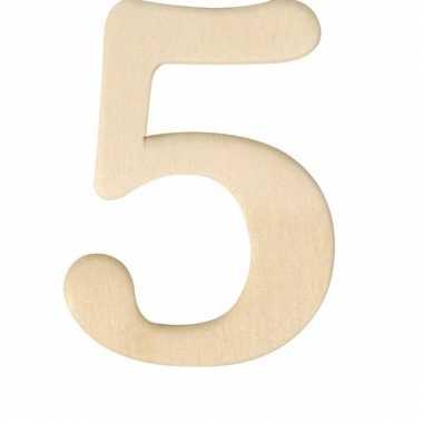Houten cijfer 5