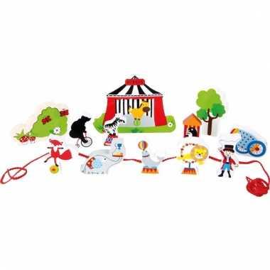 Houten cirkus speelset met rijgkoord