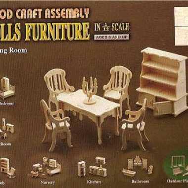 Houten eetkamer meubels poppenhuis