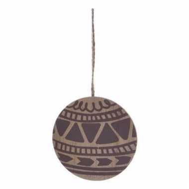 Houten kerstboom versiering schijf hout met bruin printje 8 cm