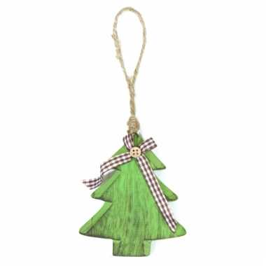 Houten kerstboompje hanger 11 cm